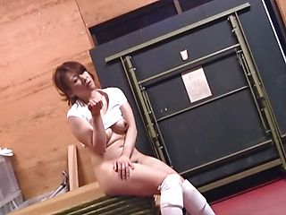 Sporty Japanese AV model is licked and fucked by bald guy