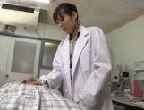 Sexy Japanese woman doctor deepthroats her patient