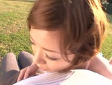 Short-haired milf Nao Mizuki rides her lover's cock on pov outdoors