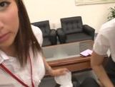 Gorgeous office milfs share one cock and get pussies creamed picture 11