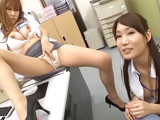 Japanese Av models in office suits fuck their horny co worker