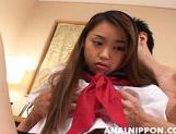 Sweet Asian schoolgirl gets frisky and gets her anal hole screwed picture 12