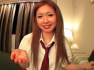 Alluring Japanese schoolgirl blows and rides dong on Asian pov