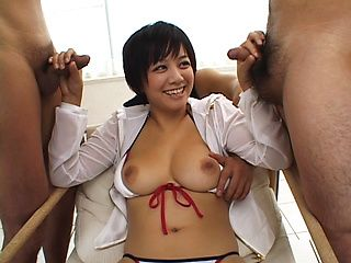 Meguru Kosaka Asian doll has two to play with her titties