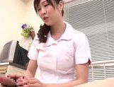 Asian nurse with curly hair Arisa Nakano makes cock massage picture 46