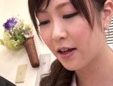 Asian nurse with curly hair Arisa Nakano makes cock massage picture 48