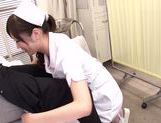 Asian nurse with curly hair Arisa Nakano makes cock massage picture 4