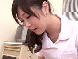 Asian nurse with curly hair Arisa Nakano makes cock massage picture 50