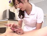 Asian nurse with curly hair Arisa Nakano makes cock massage picture 51