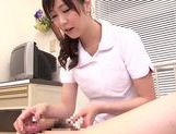 Asian nurse with curly hair Arisa Nakano makes cock massage picture 52