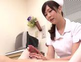 Asian nurse with curly hair Arisa Nakano makes cock massage picture 64