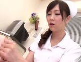 Asian nurse with curly hair Arisa Nakano makes cock massage picture 69