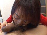 Luscious Japanese Av girl Haruka Mitsuki performs pov Asian blowjob