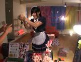Drop-dead sexy Japanese AV Model is a maid sucking cock
