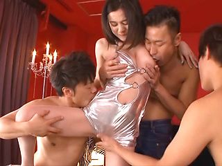 Aimi Yoshikawa in a sexy lingerie costume gets hot group action