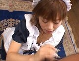 Attractive little maid Hitomi Hayasaka gets an Asian pov facial picture 11