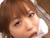 Attractive little maid Hitomi Hayasaka gets an Asian pov facial picture 12
