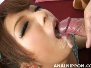 Cum-thirsty chick Aiko Nagai engulfs cock and shows off her anal