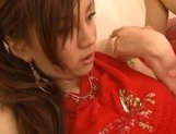 Ameri Ichinose Asian model in sexy red lingerie is fucked hard