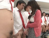 Hot Asian teacher Arisa Misato fucked by many cocks enjoys bukkake picture 15