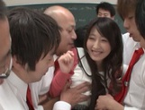 Hot Asian teacher Arisa Misato fucked by many cocks enjoys bukkake picture 8