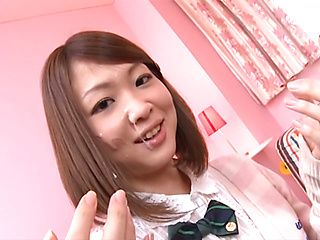 Alluring Asian teen Yuka Yamaguchi sucks cock for a facial