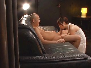 Wakaba Onoue superb Japanese milf enjoys cock sucking