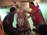 Famous Tokyo cosplayer Koharu Aoi has sex with three horny guys picture 11