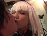 Famous Tokyo cosplayer Koharu Aoi has sex with three horny guys picture 14