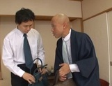 Cute Japanese milfs involve two horny dudes into a kinky group action