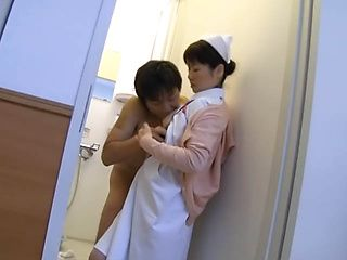 Nasty Asian nurse gets amateur stand fucking