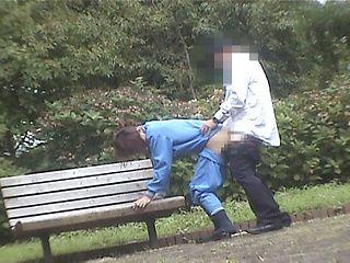 Sex on a bench through a spy cam