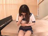 Teen schoolgirl Nanako Yoshimoto's shaved pussy creampied picture 12