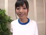 Fancy sporty girl Hitomi Miyano gives a foot job and sucks rod picture 1