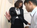 Alluring Asian milf Kanari Tsubaki in stockings teases cock picture 13