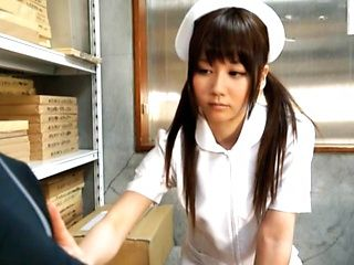 Yurika Miyaji Japanese teen is a wild nurse with hand work