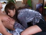 Mihiro Lovely Asian doll sucks cock and gets fondled
