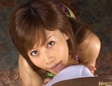 Horny chick Hime Kamiya gives a really hot pov Asian blowjob picture 1