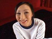 Japanese AV model fondles her juicy pussy
