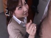 Bukkake porn show with Japanese babe Yui Tatsumi
