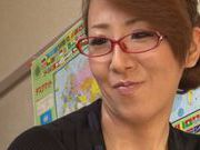 Busty Japanese teacher gets lots of facial cumshot