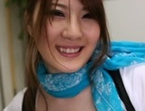 Fascinating busty hottie Momoka Nishina gives a mouth job on pov picture 27