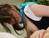 Fascinating busty hottie Momoka Nishina gives a mouth job on pov picture 30