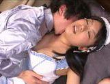 Busty maid Ai Hoshimiya pleases her master