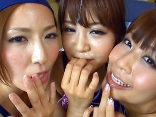 Three insatiable Japanese milfs  one big cock