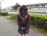Mikan Lovely Asian student shocks the guys while out walking picture 12