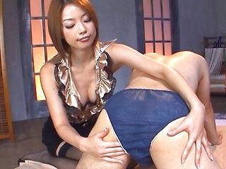 Flirty Asian milf exposes her nice ass in lingerie