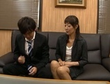 Horny Japanese mature likes to tease younger stud