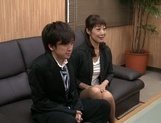 Horny Japanese mature likes to tease younger stud picture 12