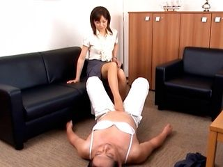 Naughty office milf gives a hot footjob gets cumshot